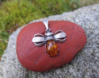 Sterling Silver and Baltic Amber Bee Pendant
