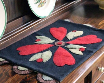 Hearts & Blossoms Wool Table Runner