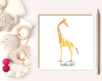 Baby Girl Greeting Card - baby girl - baby girl birth card - birth announcement - giraffe - ideal for new parents