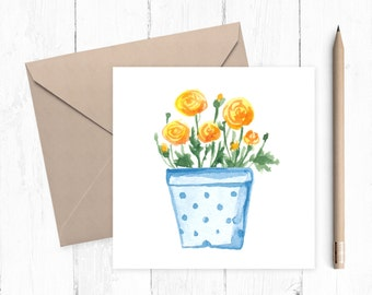Watercolour Yellow Ranunculus  Pot Blank Greeting Card, greeting card, yellow ranunculus, housewarming, ideal for flower lovers