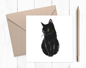 Black Cat Blank Greeting Card, cat card, black cat, black kitten, blank card, any occasion, ideal for cat lovers