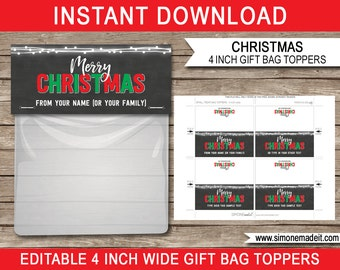 Christmas Gift Bag Toppers - Christmas Gift Tags - Printable Christmas Tags - Chalkboard - 4 inches wide - INSTANT DOWNLOAD - EDITABLE text