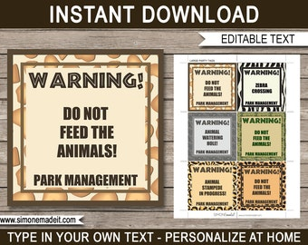 Safari Theme Printable Tags - Birthday Party Decorations - Zoo Theme - Jungle Theme - Animal Theme - INSTANT DOWNLOAD with EDITABLE text