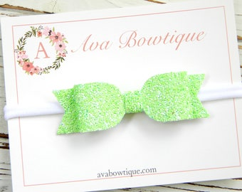 Lime Bow Headband - Lime Glitter Bow Headband - Baby Bow Headband - Nylon Headband - Girls Lime Bow Headband