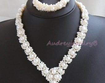 pearl necklace Bracelet set,Bridal necklace set,bridal jewelry,bridesmaids gifts,Freshwater pearl necklace, Bracelet,bridesmaids jewelry