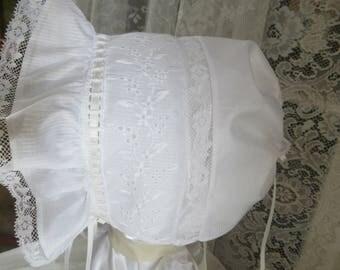 baby bonnet, christening, baptism, 3mo-24mo