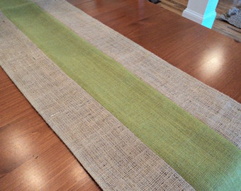 Green and Natural Burlap Table Runner Spring Table Runner Apple Green Table Settings Rustic Home Decor