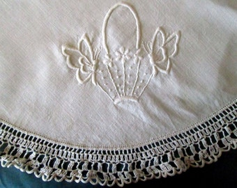 Hand Embroidered Small Tablecloth, Crochet Edging