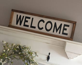Large Wood Sign - WELCOME  - Subway Sign - Farmhouse Sign - Handpainted Sign - Gallery Wall - Welcome Sign