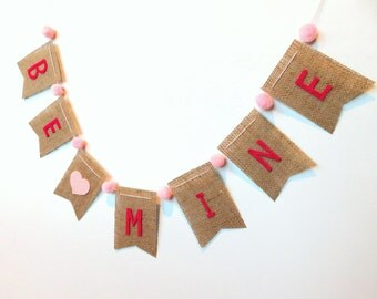 Be Mine Burlap Banner Bunting with Pom Poms Valentine's Day