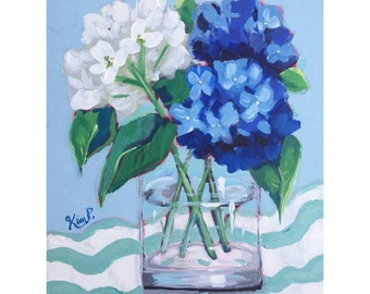 "Original painting ""Blues and Greens  #3, hydrangeas, stripes, still life,  fine art , canvas,  original painting,  large painting"