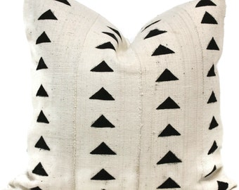 Decorative Pillow Cover White and Black Diamond African Mud Cloth, Hand made fabric from Mali Square or lumbar pillow