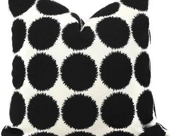 Schumacher Studio Bon Indoor Outdoor Black Fuzz II Pillow Cover, 18x18, 20x20, 22x22, 24x24, 26x26 or Lumbar Pillow Cover, Throw Pillow