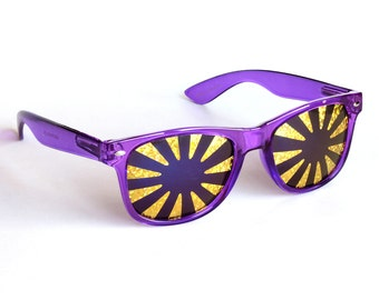 Rasslor Festival Purple Gold Burst Sunglasses