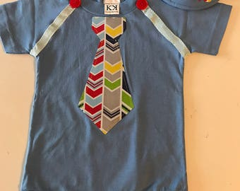 Little Boy Blue Striped Tie Onesie  and Personalized Visor Set