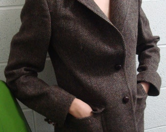 English country tweed jacket with burgundy leather details