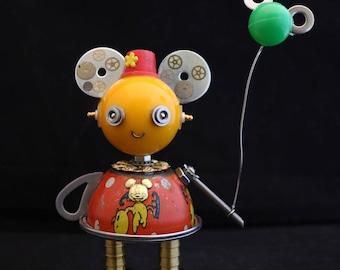 Disney Girl Bot - found object robot sculpture assemblage by Cheri Kudja with Bitti Bots