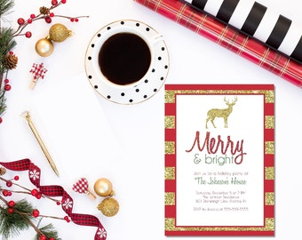 Printable Christmas Party invitation / Christmas open house invitation / holiday party invitation / gold deer Christmas party invitation