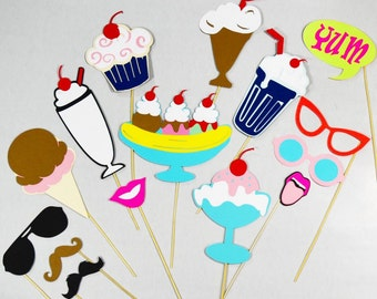 Ice cream photo booth props, cool for the summer party props, popsicle sunglasses props