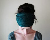 DARK TEAL Ear Warmer - Ribbed Knit Hair Wrap - Bohemian Snow Bunny - Extra Wide Head Scarf - Blue and Green Winter Hair Accessory
