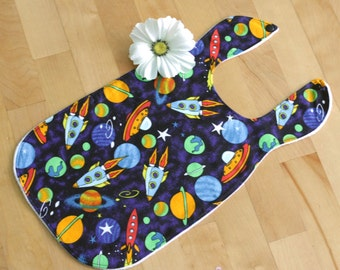 Baby large bib - Super coverage -  Space - Soft minky reverse - Ready to ship