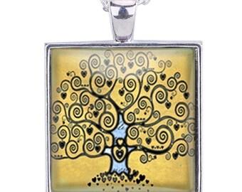 "2pcs-1.25"" Life Tree glass dome square cab pendant-antique silver tone"