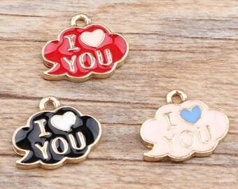 8pcs-I Love You cloud charm-enamel cloud Charm-You pick the color