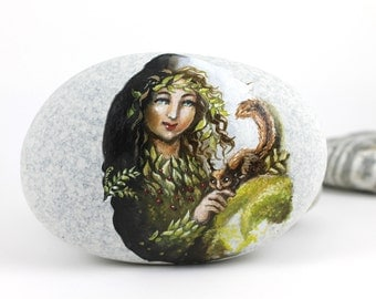 Painted stone beach rock art Ready to ship free express shipping Little fairy, sprite of the forest painted pebble beach pebbles art