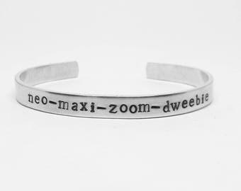 Neo maxi zoom dweebie: hand stamped aluminum cuff Breakfast Club John Hughes movie 80s nostalgia quote bracelet
