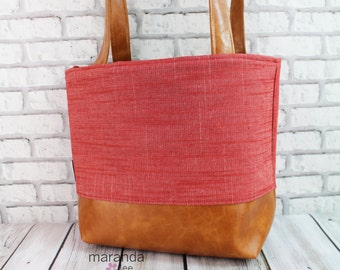 Lulu Medium Tote  Bag - Red Denim and PU Leather - READY to SHIP   Purse Shoulder Straps 3 pockets Handbag Washable