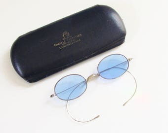 Antique Victorian Wire Blue Sunglasses Cobalt