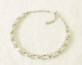Vintage Lisner Clear Crystal Stone Rhinestone Necklace signed 1960s Mid Century