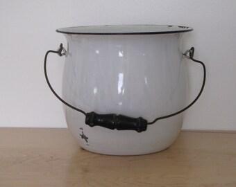 Vintage White Enamel Pot with black trim