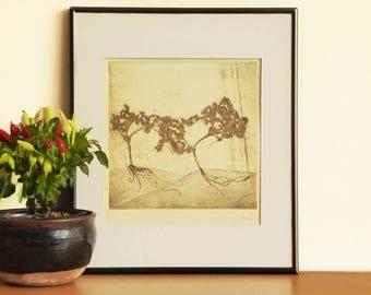 Original Etching Print BONSAI TREE Zen Garden Asian Aquatint Printmaking Feng Shui Wall Decor Etching Fine Art Print 12x12