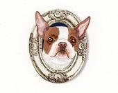 Boston Terrier Tiny Art Print - Brown and Light Bronze - Dog Art Print - Tiny Boston in a Frame