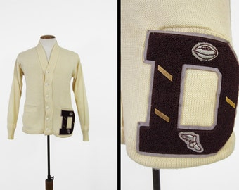 Vintage 60s Letterman Cardigan Ivory Wool Sweater Football Track and Field - Size 40