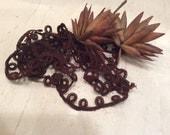 Vintage Brown Cotton Loop Lace, Antique Trim, Vintage Trim
