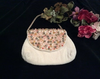 Vintage Walborg White/ Ivory  Beaded Purse with Large Pink, Gold and Silver Beads Handmade in Japan, Vintage Purse, Vintage Beaded Bag