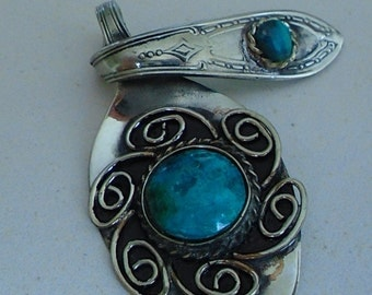 Antique spoon pendant with chrysocolla stone