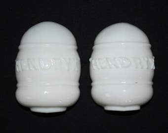 Antique 1940's Hendryx White Milk Glass Ceramic Bird Cage Feeders/ Waterers - Pair Set of Two