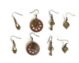 Steampunk Brass and Copper Earrings Set