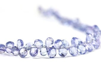 Tanzanite Micro Faceted Pear Briolettes Translucent Periwinkle Semi Precious Gemstone Beads