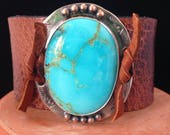 Handmade Leather Cuff, Southwestern, Blue Kingman Turquoise, Wide Brown Water Buffalo Leather Cuff, One Of A Kind