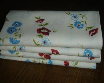 """Fabric napkins, blue/red flowers on white cotton, 14"""" square, set of 4, single ply, handmade, lunch dinner table linen, country cottage chic"""