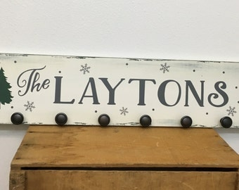 Christmas Stocking holder - 7.25X36 - rustic - distressed - with Christmas trees, snowflakes and personalized with family name