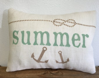 Summer pillow cover in off white burlap with summer, anchors and rope