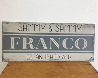 Family Established Wood Sign - Farmhouse Style Handpainted Wood Sign with Vintage Inspired Feedsack Design in Custom Colors 9.25X22 - LR-110