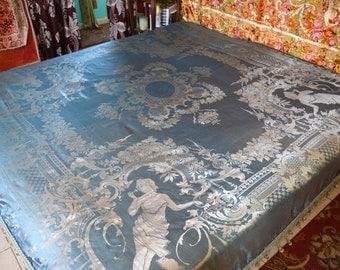 "Gypsy Bedspread, Italian Silk, Robin's Egg Blue and Champagne, Reversible, 94""l. x 108""w."
