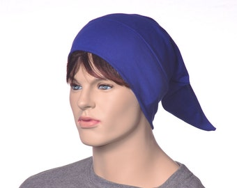 Pointed Sleep Cap Nightcap Royal Blue  Sleeping Hat Victorian Night Cap Pointed Unisex Poor Poet Hat