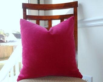 Fushia Pink Velvet Decorative Pillow Cover Pink Fushia Velvet Pillow Cover 18x18